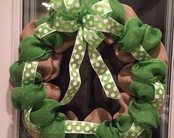Green and Burlap Wreath