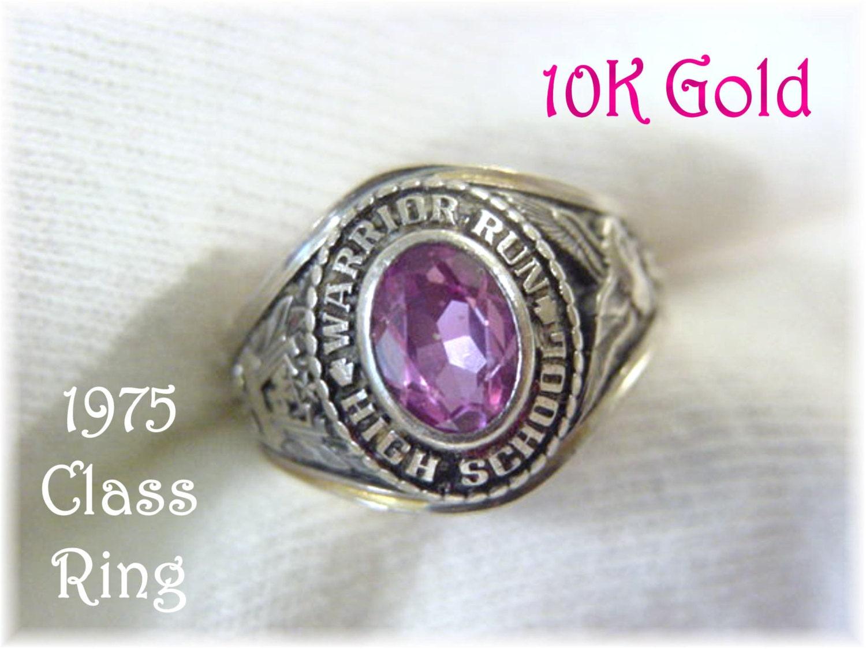 10k gold 1975 warrior run high school jostens class ring