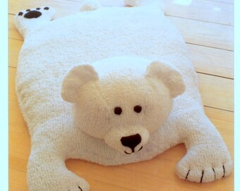 Wonderful Vintage Knitting Pattern PDF Polar Bear Rug Play Mat