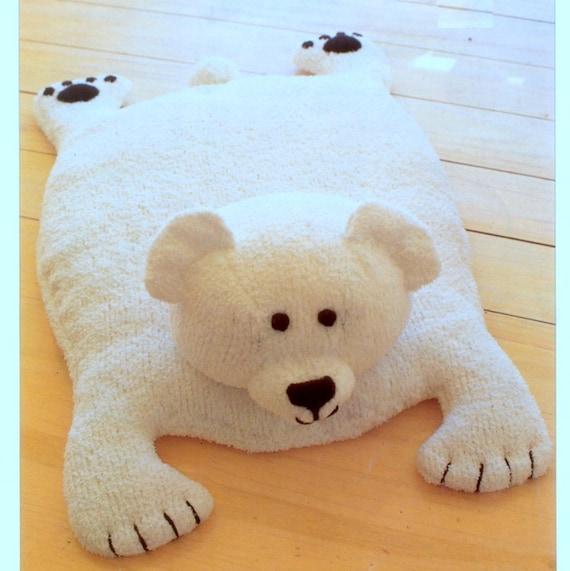 Bear Rug Knitting Pattern : Vintage knitting pattern pdf polar bear rug play mat