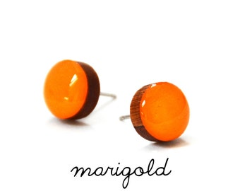 Marigold Solid Colour Stud Earring · Warm Yellow Stud · Yellow Stud · Paint + Resin Stud · 3 sizes 8mm, 10mm & 13mm