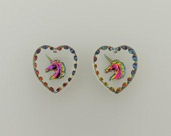 UNICORN German Etched Austrian Crystal VITRAIL MEDIUM Pendants, Two(2) 14mmx15mm Heart Shaped Intaglio Unicorn Pendants
