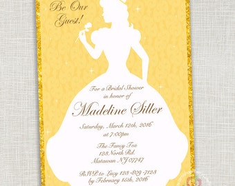 Beauty and the beast bridal shower invitations Etsy