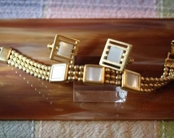 Lovely Vintage MOP Napier Bracelet and Earrings