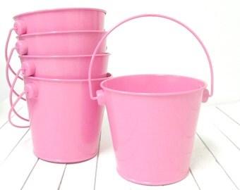 """3 3/4"""" Hot Pink Metal Pail Bucket - metal bucket, party favor bucket, wedding favor bucket, rustic wedding decor, bucket planter"""