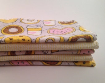 Valentine Baby // Baby Wipes // Eco friendly // Donuts Flannel Washcloths // Cloth Wipes