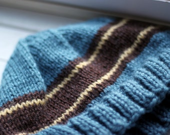 Blue/Brown/Gold Striped Hat