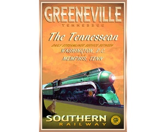GREENEVILLE Tennessee Southern Railway Travel Poster The Tennessean Train Pacific PS4 Streamliner Retro Art Print 291