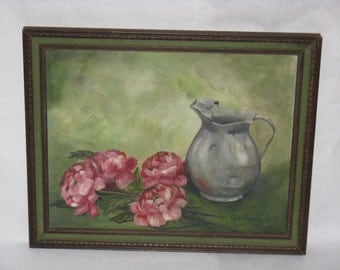 Vintage original oil painting on canvas board framed signed still life pitcher peony flowers