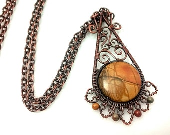 Red Creek Jasper Bohemian Artisan Filigree Pendant Necklace, Copper Pendant with Natural Stone, Teardrop Shape, Made to Order
