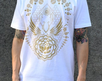 LOTUS WORLD - Gold Screen Print - Flower of life Influence