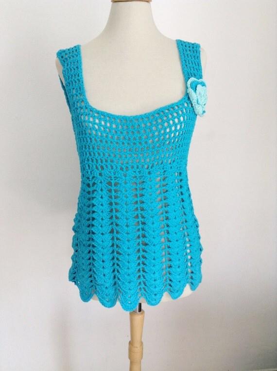 Crochet top, crochet beach wear, blue crochet tunic, crochet tunic, tank top, women crochet dress, crochet halter topclothing, boho crochet