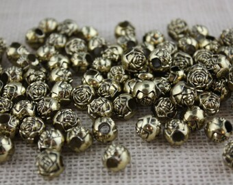 Antique Gold Vintage Large Hole  10mm Rosebud Flower Beads (36 Pieces)