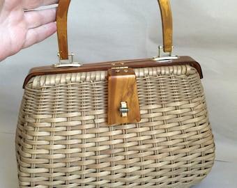 Antique Vintage Mister Ernest Simon wicker woven handbag with Lucite trim Hong Kong 1950's