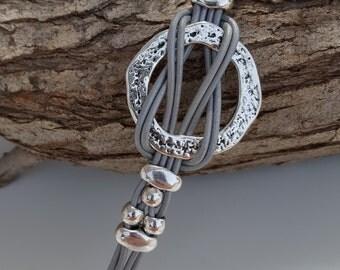 multistrand silver  leather Bracelet