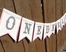 Onderland, Winter Onederland banner, Birthday banner, Princess Banner, First Birthday Banner, Silver and Pink Birthday Banner