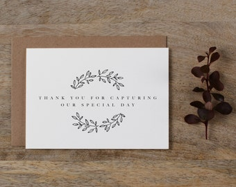 Thank you for Capturing our Wedding - Card for Wedding Photographer - Wedding Card, Wedding Thank You Cards, Wedding Photographer Card, K9
