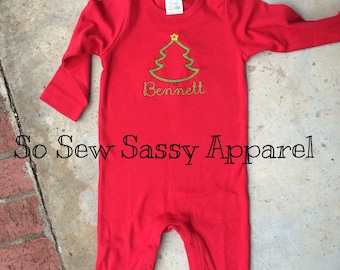 Red vintage Christmas tree baby romper with name