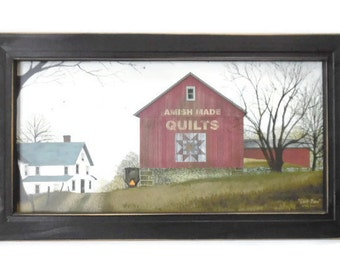 Amish Made Quilts, Quilt Barn, Billy Jacobs, Art Print, Country Decor, Wall Hanging, Handmade, 21X12, Custom Wood Frame, Made in the USA