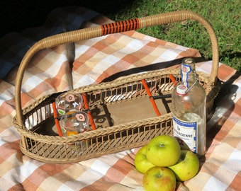 Vintage Basket - 1940s Basket - Vintage Picnic Basket - Bottle Basket - Vintage Storage Vintage Picnic - Bottle Carrier - Will Post Overseas
