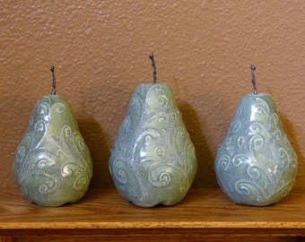 Ceramic Pears, metal stems, Pottery Still Life, sculpted fruit, centerpiece, home decor, green, vines and leaves mixed media sculpture