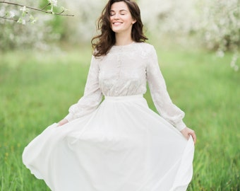Full length dress with vintage lace bodice