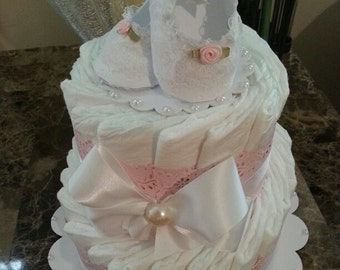 Two Tier Elegant Pink And White Diaper Cake / Baby Girl Diaper Cake