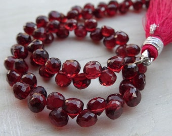 5 mm Red Rubelite Garnet Briolette Faceted Onion-AAA+ Quality,select no of pcs