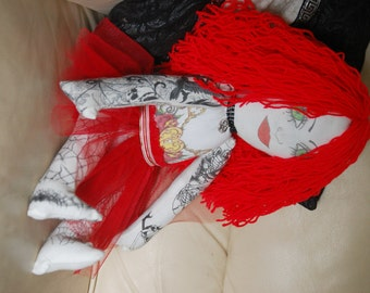 Hand Made Gothic,Horror.steampunk  Tattoo 22in Rag doll has moveable arms and legs