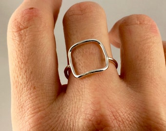 Geometric Sterling Silver Ring, silver ring, square ring, sterling silver