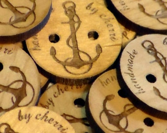 Personalized wood buttons nautical anchor laser engraved 1.5 inch
