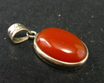 Carnelian Sterling Silver Pendant - 1.2''
