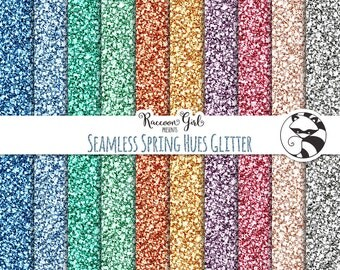 50% OFF Seamless Spring Hues Glitter Digital Paper Set - Personal & Commercial Use