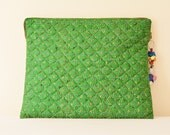 Green Vintage Kantha Silk Lap Top Sleeve , Blue Quilted Laptop Sleeve