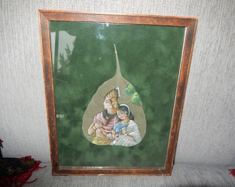INDIA PAINTING on FIG Leaf Wall Hanging