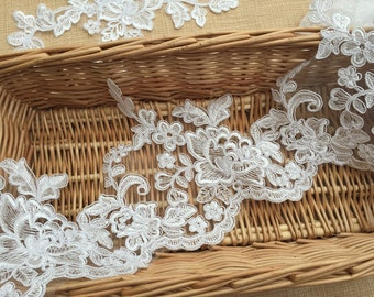 NEW Sell By Yard Alencon Lace Trim, Light Ivory Corded Lace Trim, Bridal Lace Trim, High Quality, Width 14.5cm