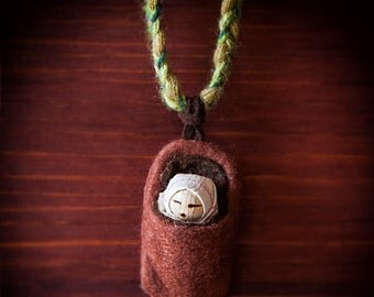 Seed baby in a seed bag ~ toy ~ miniature ~ Waldorf inspired ~ leaf buddy ~ root child