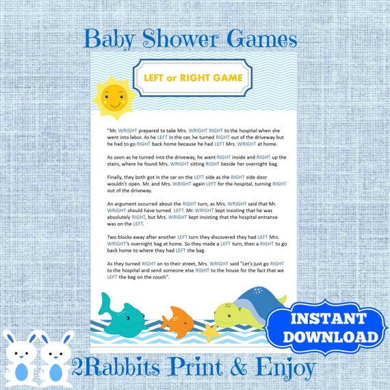 the sea baby shower left right baby shower game instant download