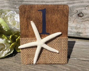 Navy and Burlap Starfish Table Numbers, Starfish Wedding Table Numbers, Beach Wedding Table Numbers, Navy Beach Table Numbers