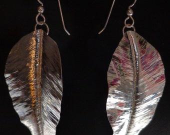 Leaf Earrings Hand Hammered  Sterling Silver