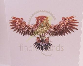 Steampunk Owl Blank Card, Owl Card, Steampunk Card, UK