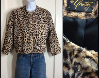 Vintage 1950's Leopard Animal Print faux fur Cropped Jacket Glentex size Large