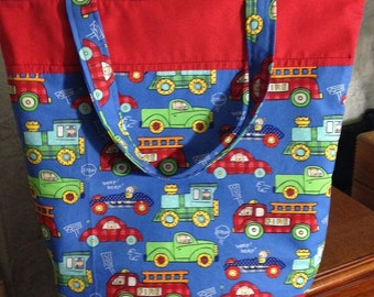 Firetrucks, Cars and Trains Zippered Tote