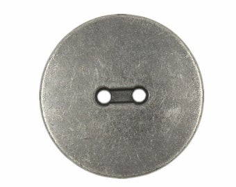 Metal Buttons - Convex Gunmetal Hole Buttons - 23mm - 7/8 inch - 6 pcs