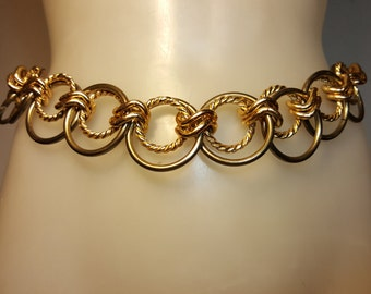 FREE  SHIPPING   1980 Gold silver Chain Belt