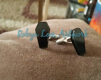 Small Black Laser Cut Coffin Cuff Links in Silver