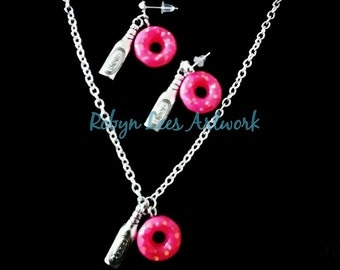 Food Lover Doughnut Necklace and Earring Set with Pink Sprinkled Resin Donuts and Silver Beer Bottles