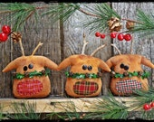 Reindeer Ornaments, Primitive Country Christmas Tree, Bowl Fillers, Tucks, Party Favor, Package Tie On, Gift Tag, OFG FAAP