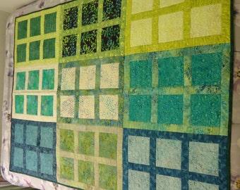 Window Floral Blocks Batik Lap Quilt