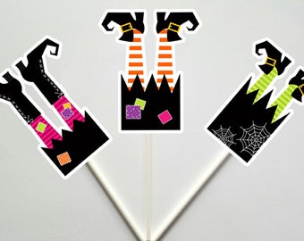 Witch Cupcake Toppers, Halloween Cupcake Toppers, Witches Legs Cupcake Toppers